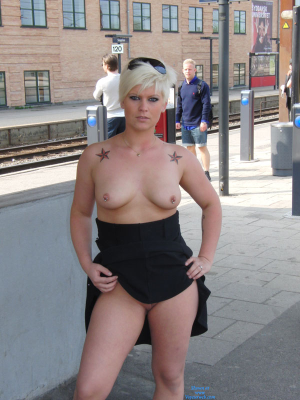 Pic #1 - Flashing Tits And Pussy At Train Station - Blonde Hair, Exhibitionist, Flashing, Pierced Nipples, Topless, Bald Pussy, Hot Girl, Pussy Flash, Wife Pussy , Top Down Skirt Up, Standing On Train Station Platform, Commuters Delight, Rings In Pierced Nipples, Topless Sister, Slutty Look