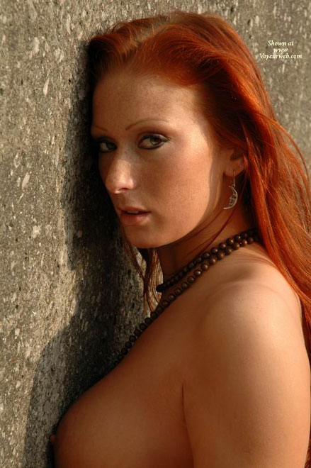 Pic #1 - Breast Side-view , Breast Side-view, Sexy Redhead, Side View, Perky Nipple, Topless Redhead Against Wall