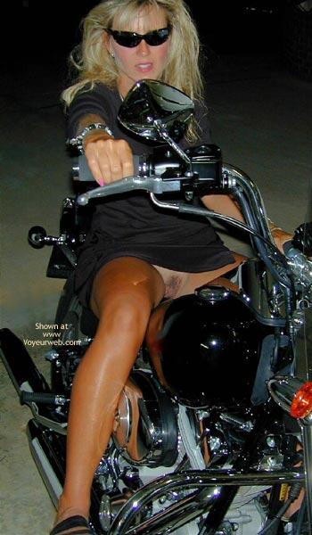 Pic #2 - No Panties Biker Chick