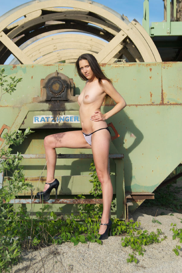 Pic #1 - Topless Slim Chick High Heels Standing Old Machinery - Black Hair, Heels, Long Legs, Small Tits, Topless , Black Platform Heels, Long Legs In Heels, High Heels Outdoors, Small Titties, Topless Amateur, Topless Outdoor, Mis Ratzinger 2010
