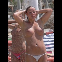 Candid Topless Girl Shower On Beach - Brunette Hair, Hard Nipple, Topless Beach, Topless, Beach Tits, Beach Voyeur