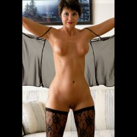 Black Stockings - Perky Tits, Shaved Pussy, Shaved, Stockings