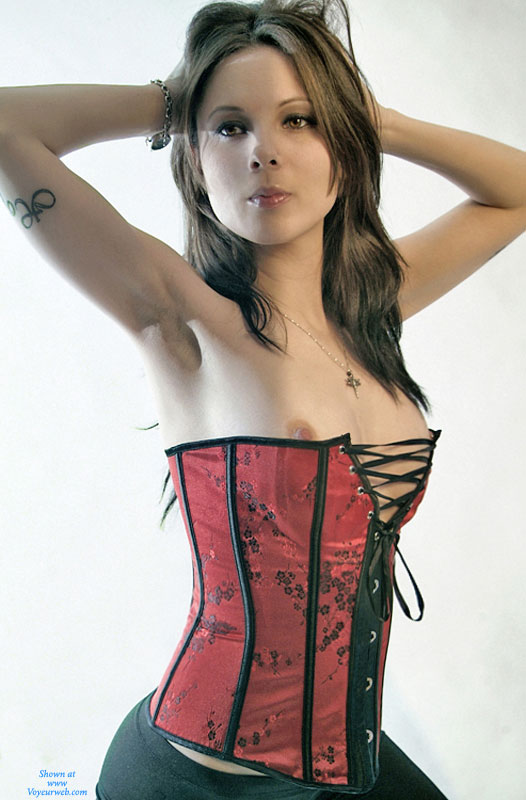 "Hour Glass Figure - Brown Hair, Brunette Hair, Long Hair, Small Breasts, Sexy Face , Gorgeous Body, Slender Body, Sexy Brunette, Pretty Face, Red Corset, Sexy Girl, Skinny Brunette, Sexy ""fuck Me"" Corset, Gorgeous Face"