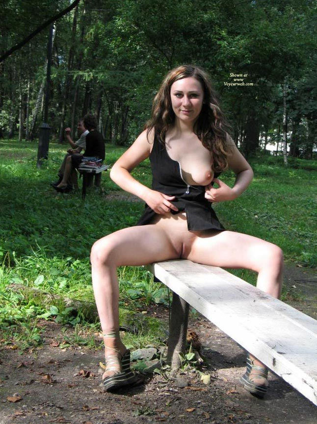 Wife flashing pussy outdoors