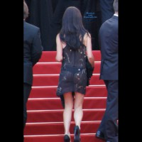 See Through Dress In Public - Black Hair, Heels, See Through, Sexy Girl