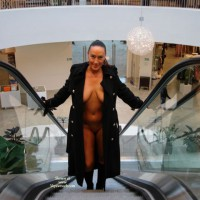 Public Nude - Brunette Hair, Cleavage, Exposed In Public