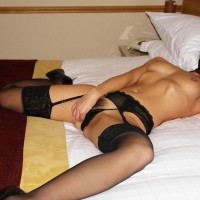 Girl On Bed - Heels, Small Tits, Spread Legs, Stockings