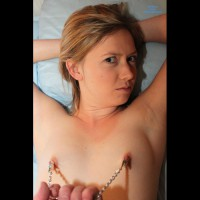 Pulling Her Nipples With Nipple Chain - Erect Nipples, Nude Amateur