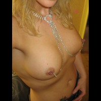 Self Shot Of Chained Nipples - Blonde Hair, Erect Nipples, Hard Nipple, Perky Tits, Nude Amateur