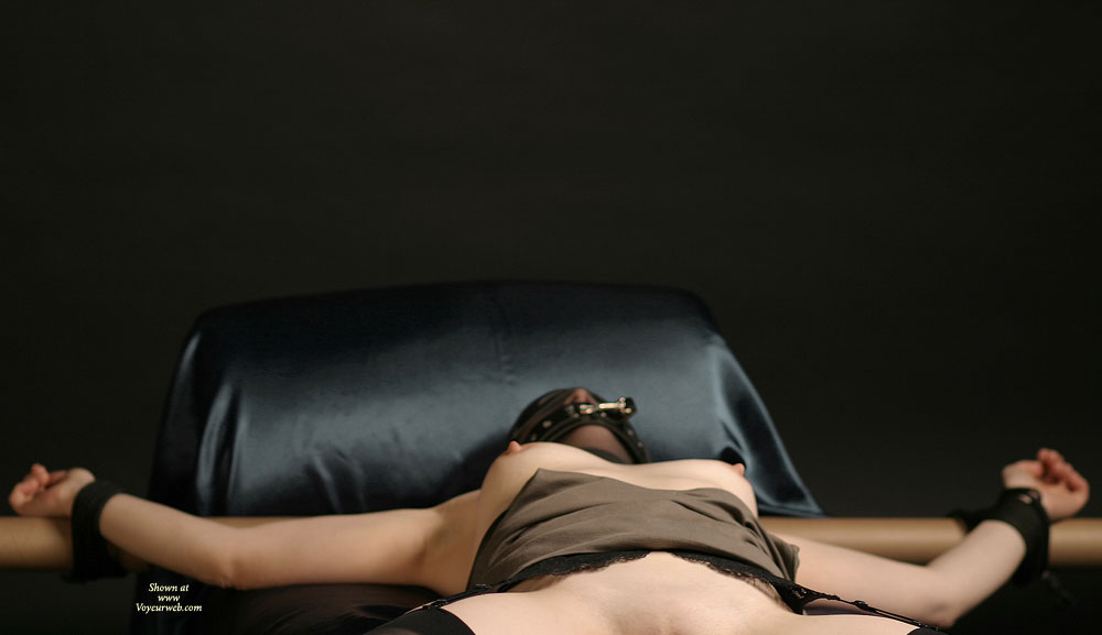 Pic #1 - Wife BDSM Games - Erect Nipples, Hard Nipple, Nude Wife , Nylon Over Her Head, Tied Spread Arms, Arms Spread, Tied Wife, Bound To Please, Wife Bondage, Bondage