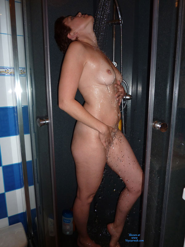 Pic #1 - Wife Taking Shower - Naked Girl , Taking Shower, Touching Pussy, Arched Back, Head Arched Back, Nude Girl Taking Shower, Medium Titties, Wet Skin, Tanlines
