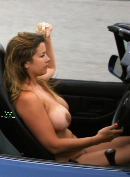 Girl driving and masturbating