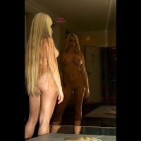 Nude Blonde Girl Very Long Hair In Front Of Mirror - Big Tits, Blonde Hair, Long Hair, Bald Pussy, Naked Girl, Nude Amateur