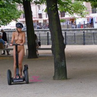 Naked Girl Riding Segway In Public - Exhibitionist, Flashing, Perfect Tits, Bald Pussy