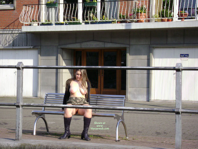 """Pic #1 - Patricia Near The Meuse , Now, It's Time To Walk By A Big River Called """" La Meuse"""" In Belgium. Walking By The River ? Right, But Completly Nude, It's Better"""