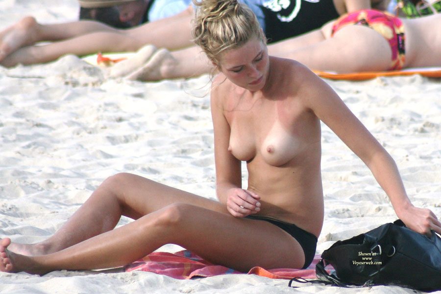 Pic #1 - Topless Chick Voyeured Beach - Blonde Hair, Long Hair, Topless Beach, Topless, Beach Tits, Beach Voyeur , Small Nipples, Nice Tanlines, Firm Medium Titties, Nice Nipples, Young And Lovely, Tanlines