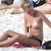 Topless Chick Voyeured Beach - Blonde Hair, Long Hair, Topless Beach, Topless, Beach Tits, Beach Voyeur