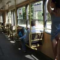 Lifting Her Blue Dress To Show Pussy In Public - Flashing, Hairless Pussy