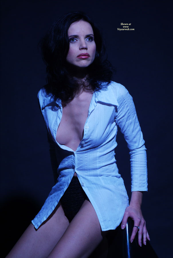 Pic #1 - Brunette Open Blouse - Brunette Hair, Topless , No Tits Under The Blouse, Red Lips For Sucking Cock, White Blouse, Topless Girlfriend, Nip Slip, Black Panties, Under Blue Light, Busting Out