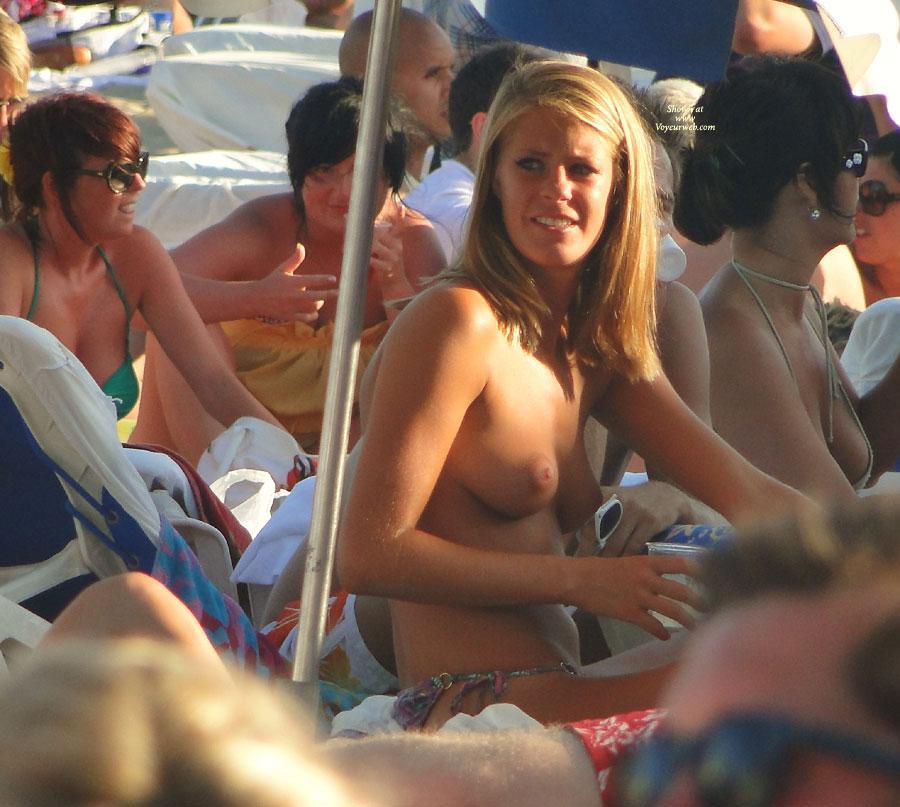Pic #1 - Sexy Girl On Topless Beach Voyeured - Blonde Hair, Topless, Beach Voyeur, Sexy Body, Sexy Boobs, Sexy Face, Sexy Woman , Crowded Beach, Sitting, Stunning Beauty, String Bikini Bottom, Tanned Tits, Puffy Nipples, Topless Beach, Medium Titties