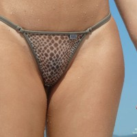 Leopard Print Bikini - Topless, Beach Voyeur