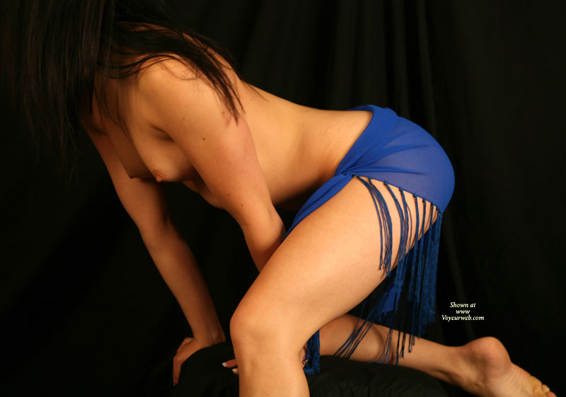 Pic #1 - Dressed In Blue - Brunette Hair, Small Breasts , Dressed In Blue, Small Breasts, Hard Nips, No Face Girl, Topless Brunette, Artistic Photo, Topless Only, Female Torso