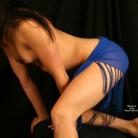 Dressed In Blue - Brunette Hair, Small Breasts