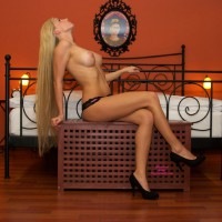 Bedroom Blonde Topless With High Heels - Blonde Hair, Heels, Long Hair, Long Legs, Topless, Naked Girl