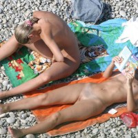 Two Naked Girls On Nude Beach - Shaved Pussy, Small Tits, Tan Lines, Bald Pussy, Beach Voyeur