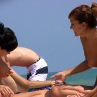 Topless Candid Girls On Beach - Dark Hair, Firm Tits, Huge Tits, Long Hair, Perky Tits, Topless Beach, Topless, Beach Tits, Beach Voyeur