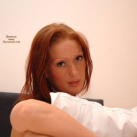 Redhead Holding Pillow - Freckles, Red Hair