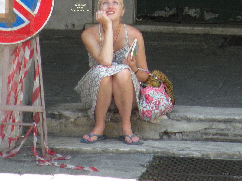 Pic #1 - Sitting Upskirt White Panties , Panties, Upskirt, Short Dress, Flowery Sundress, Upskirt Voyeur