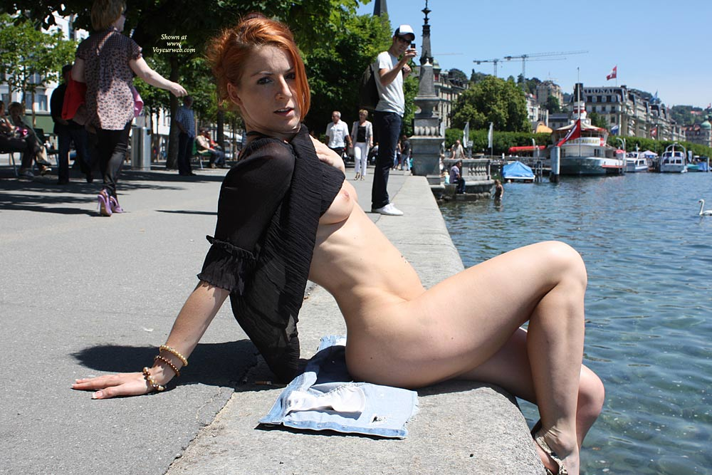 By The River Public Flashing Curvy Figure Pale Redhead Nude