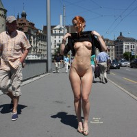 Redhead Flashing In Europe - Black Hair, Flashing, Perky Tits, Red Hair, Shaved Pussy, Small Tits, Naked Girl