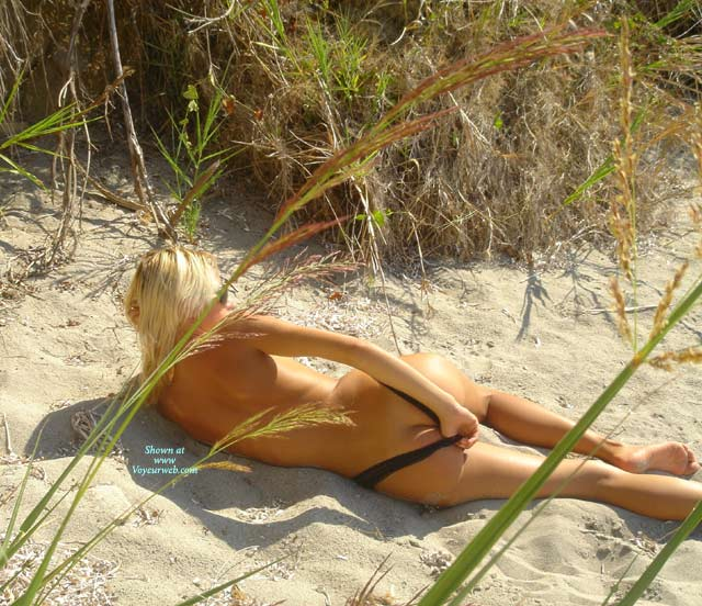 Pic #1 - Lying On Beach - Rear View, Round Ass, Beach Voyeur , Lying On Beach, Posing On Beach, Rear View, Round Ass, Sunny Beach, Black Thong On Beach, Nude In Sand