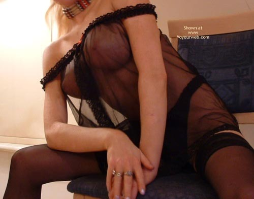 Pic #4 - Amateur Babe Stockings And Seethru Top