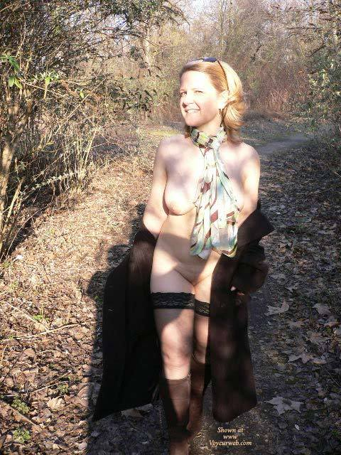 Pic #1 - Wife Flashing Pic - Flashing, Nude Outdoors, Looking At The Camera, Naked Girl, Nude Amateur , Smiling At Camera, Black Lace Top Hold Up Stockings, Nude In Nature, Nude Outdoors, Silk Scarf, Black Thight High White Lace Top, Black Wrap Around Coat, Black Hose, Brown Boots