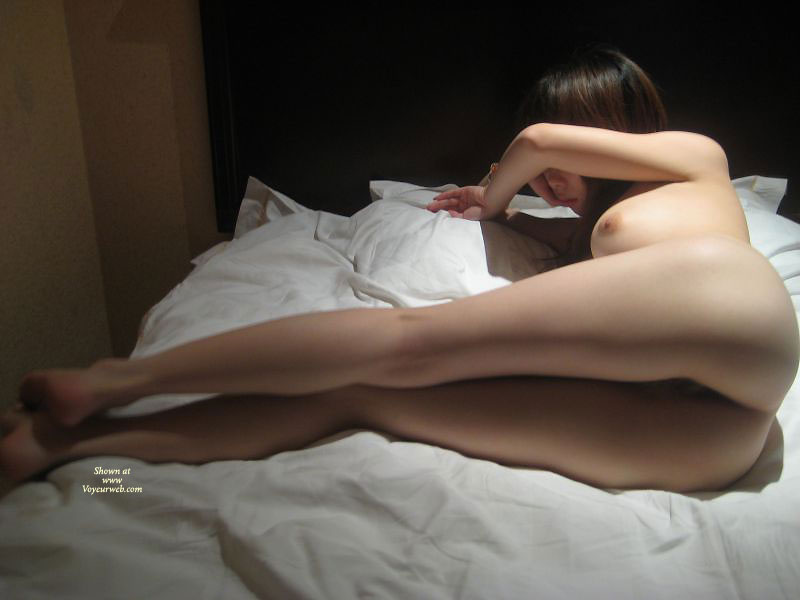 Pic #1 - Nude Shy Asian Girl On Bed - Long Hair, Long Legs, Naked Girl , Nude Friend, Slim Body, Stretched Legs, Long Straight Hair, Asian Poon Tang, Oriental Snatch, Lying Sideways, Big Titties, On The Bed, Nude Girl Hiding Her Face