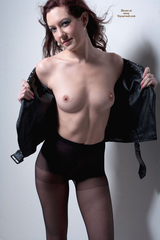 Pic #1 - Model Stance - Erect Nipples, Small Tits, Naked Girl , Black Leather Flash, Black Pantyhose, Small Nipples, Leather And Silk, Model Pose, Leather Jacket, Little Nipples, Nylon And Lace, Leather Blouse, Little Nipples And Areola