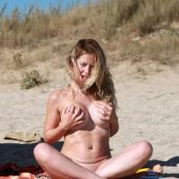Nude Handbra Babe On The Beach - Big Tits, Blonde Hair, Long Hair, Nude Beach, Beach Voyeur, Nude Wife, Sexy Wife