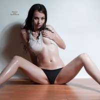 Sitting Frontal Legs Spread On Floor - Dark Hair, Spread Legs, Naked Girl