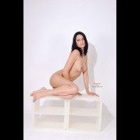 White Background - Black Hair, Full Nude