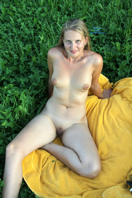 Girl outdoors shaved