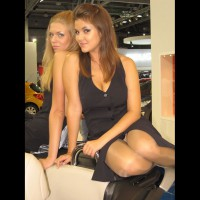 Car Show Upskirt - Blonde Hair, Brunette Hair, Shaved Pussy, Upskirt