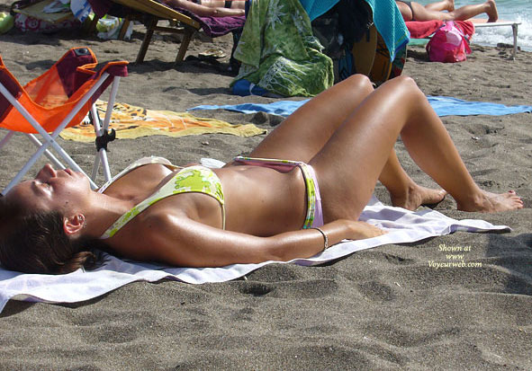 Pic #1 - On The Beach , I Was Sunbathing On The Beach When I Saw This Girl Next To Me. I Used A Small Camera So Quality Is Not Excellent. Enjoy!