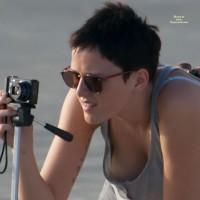 Braless Downblouse - Black Hair, Sunglasses, Beach Voyeur