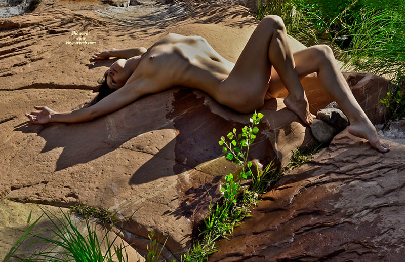 Pic #1 - Naked Girl On Rocks - Nude Wife , Sharp Nipples, Tanned Body, Slim And Trained, Arched Back, Visible Rib Cage, Tight Tiny Titties, Posing Outdoors, Hot Rocks And Hot Chick