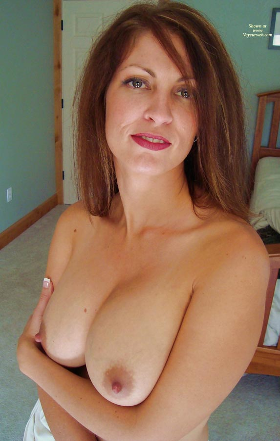 Topless Milf Holding Her Titties - Brunette Hair, Milf, Topless , Looking Into Camera, Sexy Green Eyes, Standing, Topless Friend, Topless Sexy Milf, Large Tits, Hugging Her Tits
