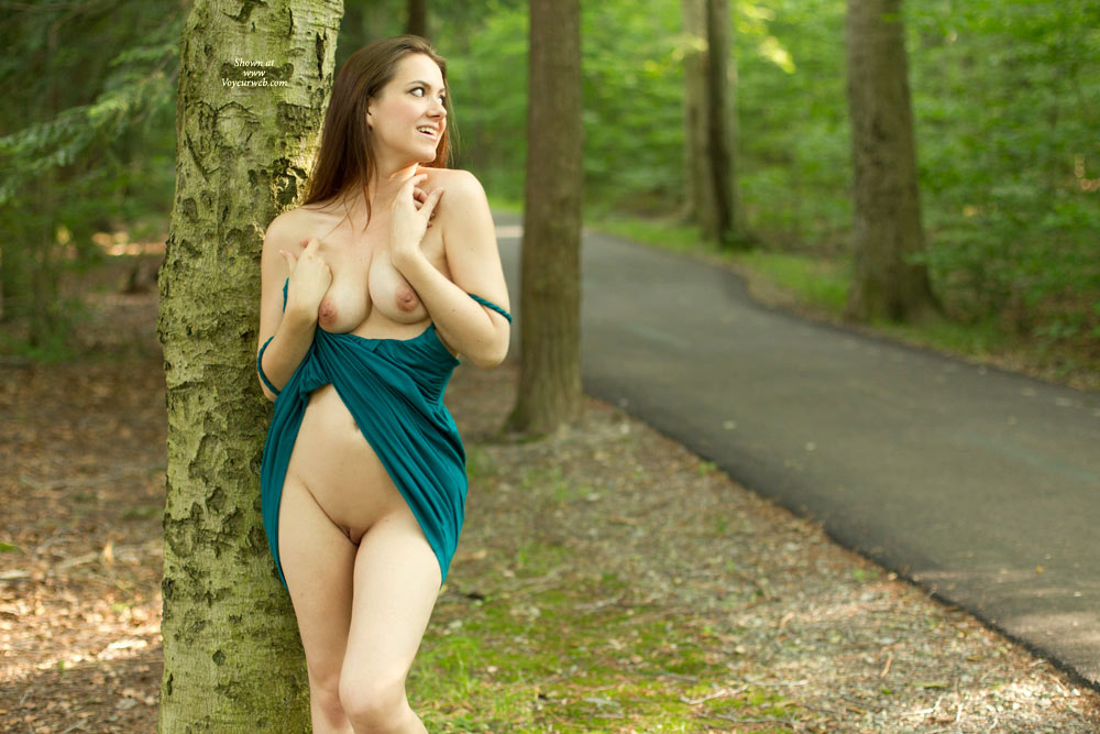 Pic #1 - Brunette Flashing Pussy And Tits - Brunette Hair, Erect Nipples, Flashing, Bald Pussy, Naked Girl , No Underwear Under Dress, Bald Beaver, Roadside, Nature Nude, Flashing In The Park, Natural Breasts, Naked In The Woods, Soft Looking Cunny