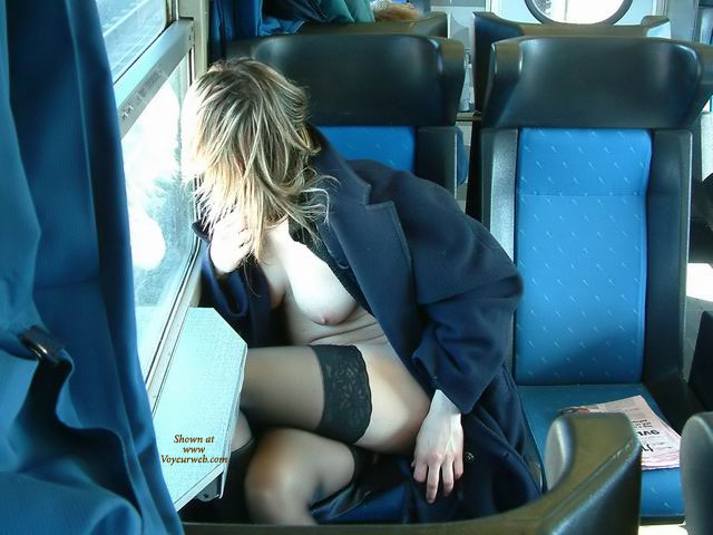 Pic #1 - Nude Under Black Coat In Train - Blonde Hair, Exhibitionist, Flashing, Nude In Public, Stockings, Nude Wife , Public Nudity, Train Flashing, Train Flasher, Natural Boob, Flasher Coat And Black Stockings